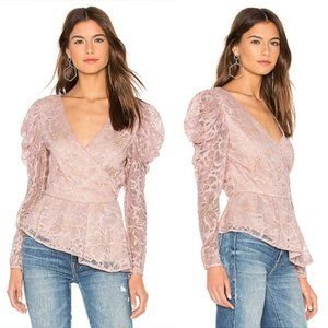 Astr Icon Lace Puff Long Sleeve Top In Pink S